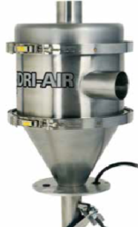 "VR receivers feature stainless steel construction, material inlet valve (eliminates material line valve on common line systems) and pellet screen. Available options include vacuum ""T"" sequence valves, machine mount packages and external proportioning valves for regrind blending"
