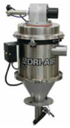 VRH receivers feature a hinged open design for easy cleaning, stainless steel construction and a lid mounted vacuum sequence valve with vent. Other features include a material inlet valve and a on/off control box with LED indication. As with the VR series machine mount packages and external proportioning valves for regrind blending are available